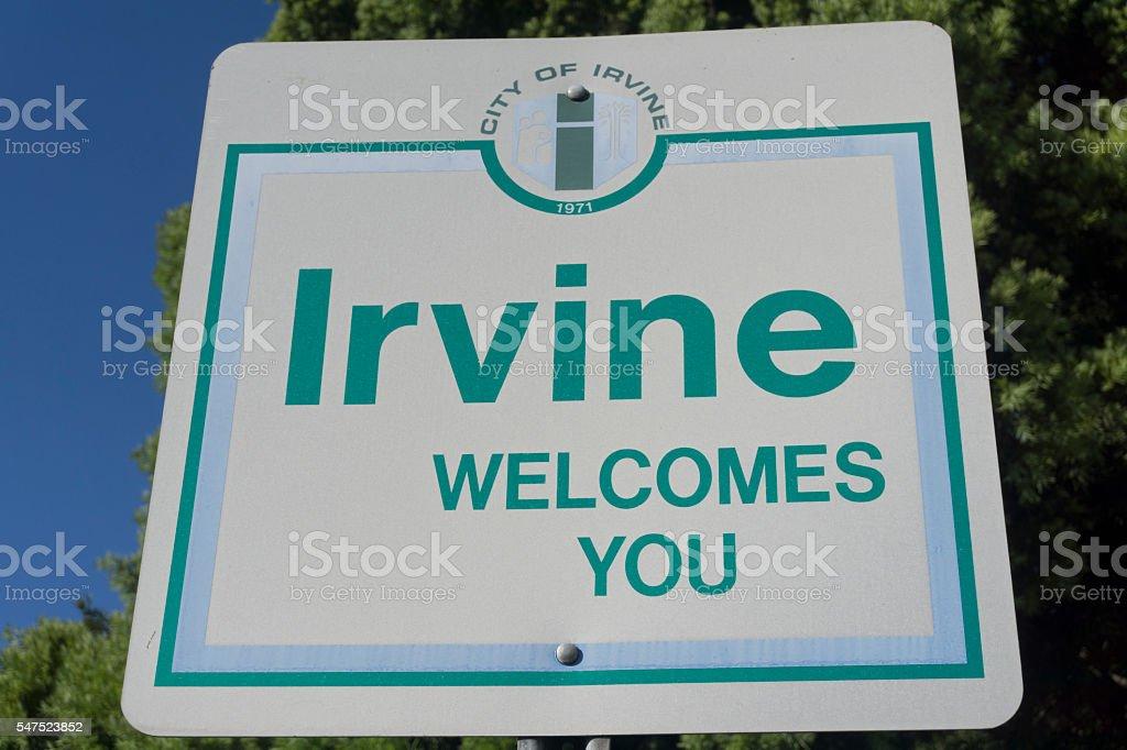 Irvine California Sign stock photo