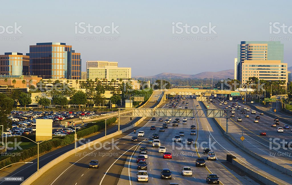 Irvine Skyline and freeway stock photo