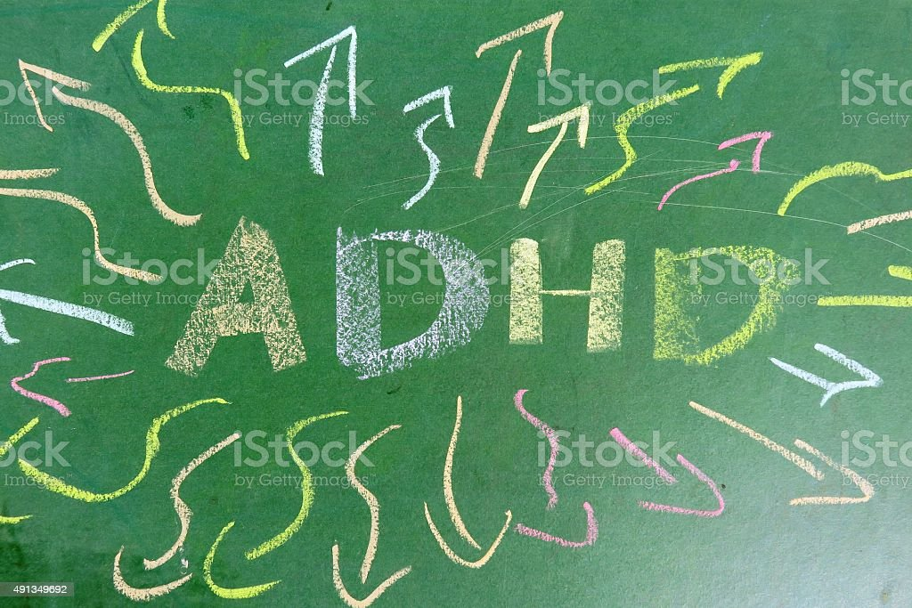 ADHD is Attention deficit hyperactivity disorder. stock photo