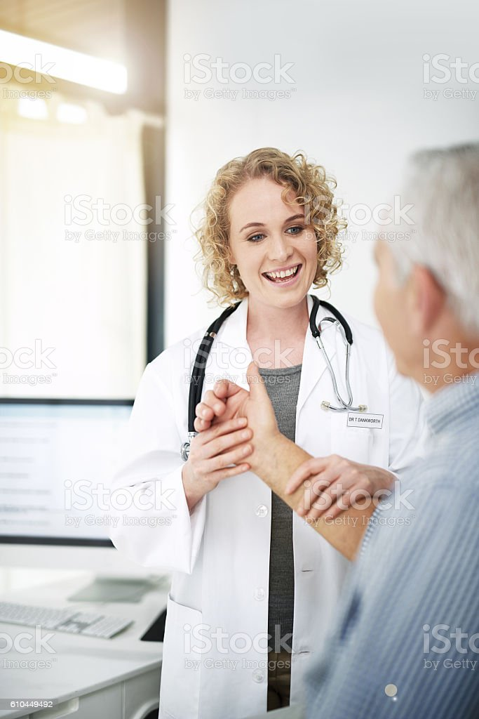 Is it feeling better? stock photo