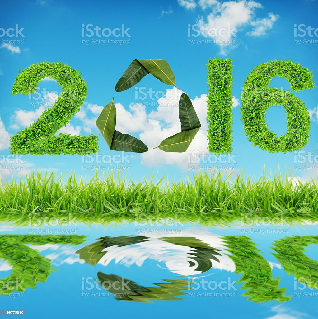 2016 is made of green leaves The blue sky stock photo