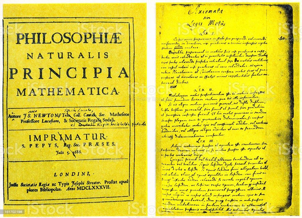 Isaac Newton's Philosophiæ Naturalis Principia Mathematica  published 5 July 1687 stock photo