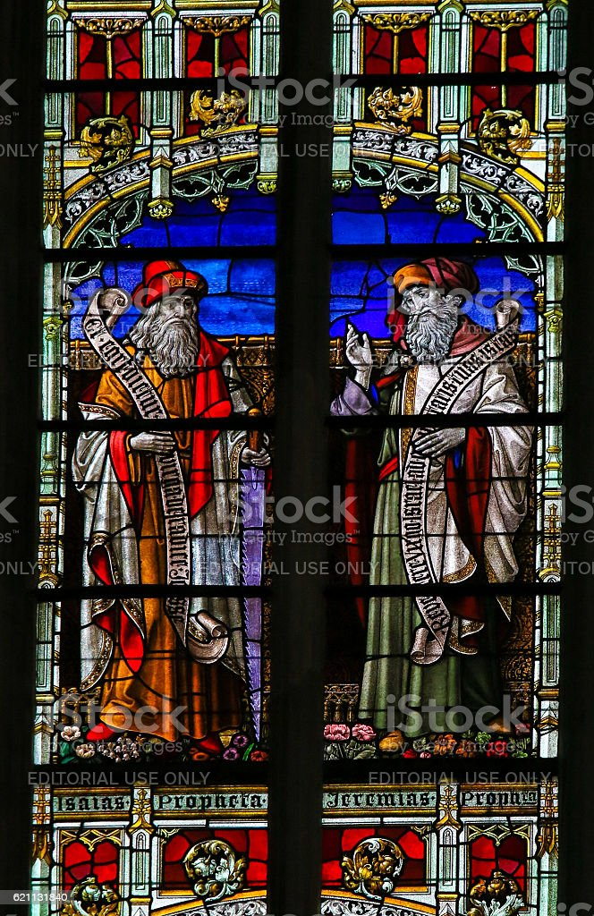 Isaiah and Jeremiah - Stained Glass stock photo
