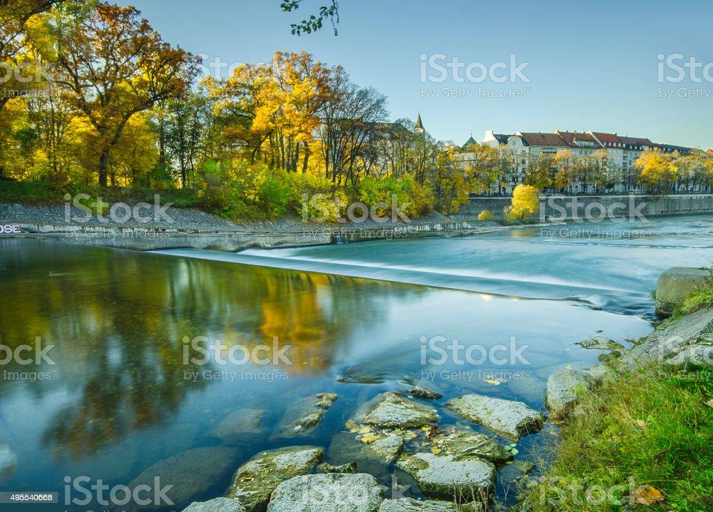 Isar river Munich, Germany stock photo