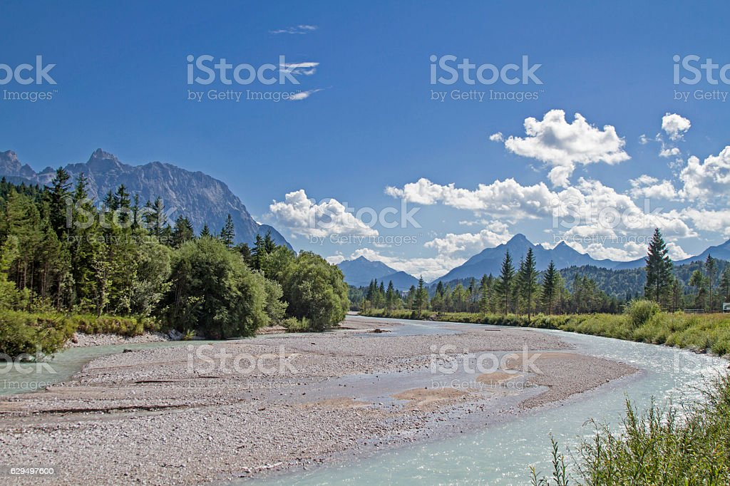 Isar riverbed  near Krün stock photo