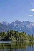 Isar storage lake with Karwendel mountains