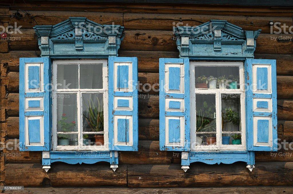 Isba in Siberia stock photo