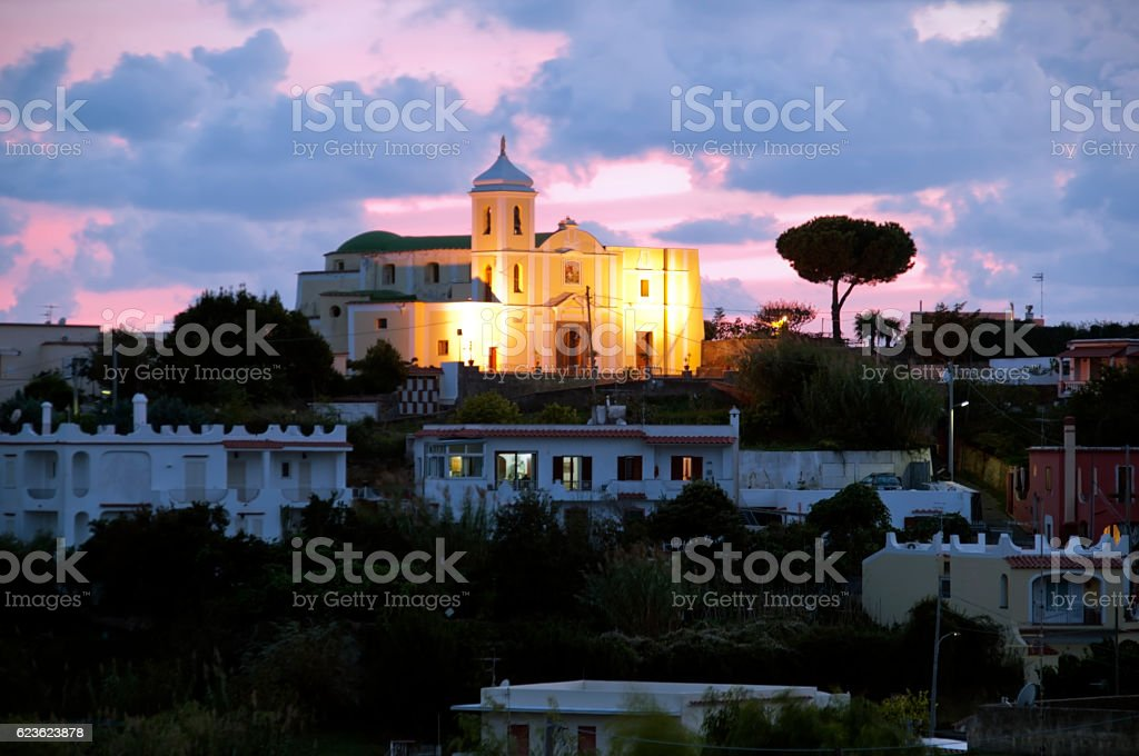 Ischia by night stock photo