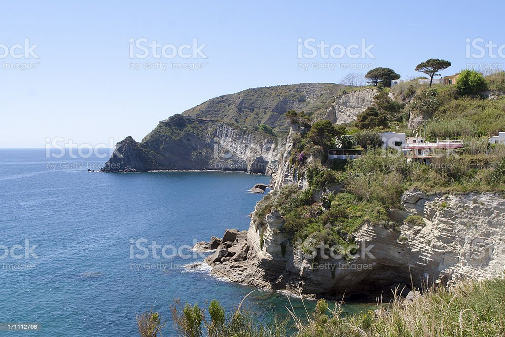 Ischia Island and view from Sant Angelo, Italy royalty-free stock photo