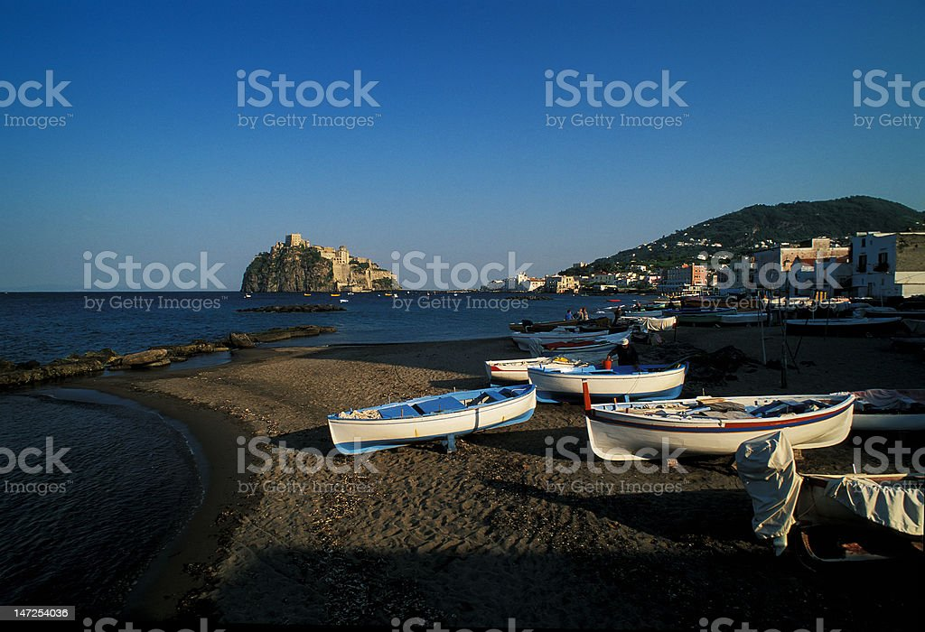 Ischia Ponte with Aragon Castle from the beach royalty-free stock photo