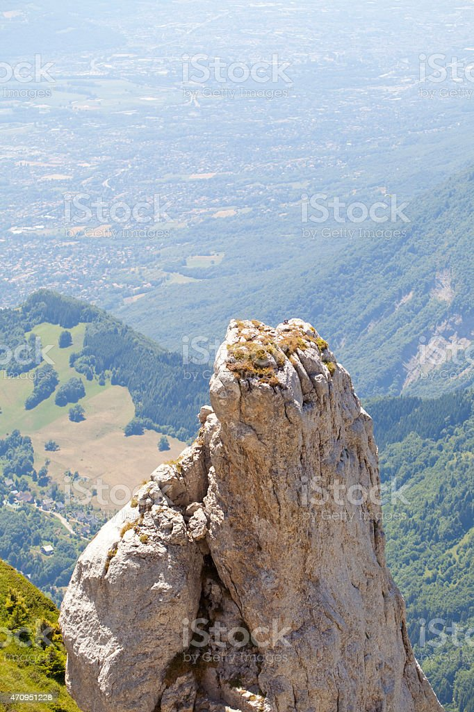 Isere Valley and calcareous needle. stock photo