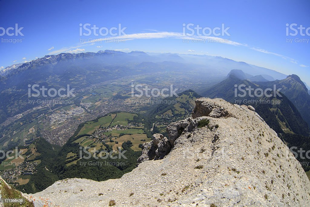 Isere Valley from Dent Du Crolles stock photo