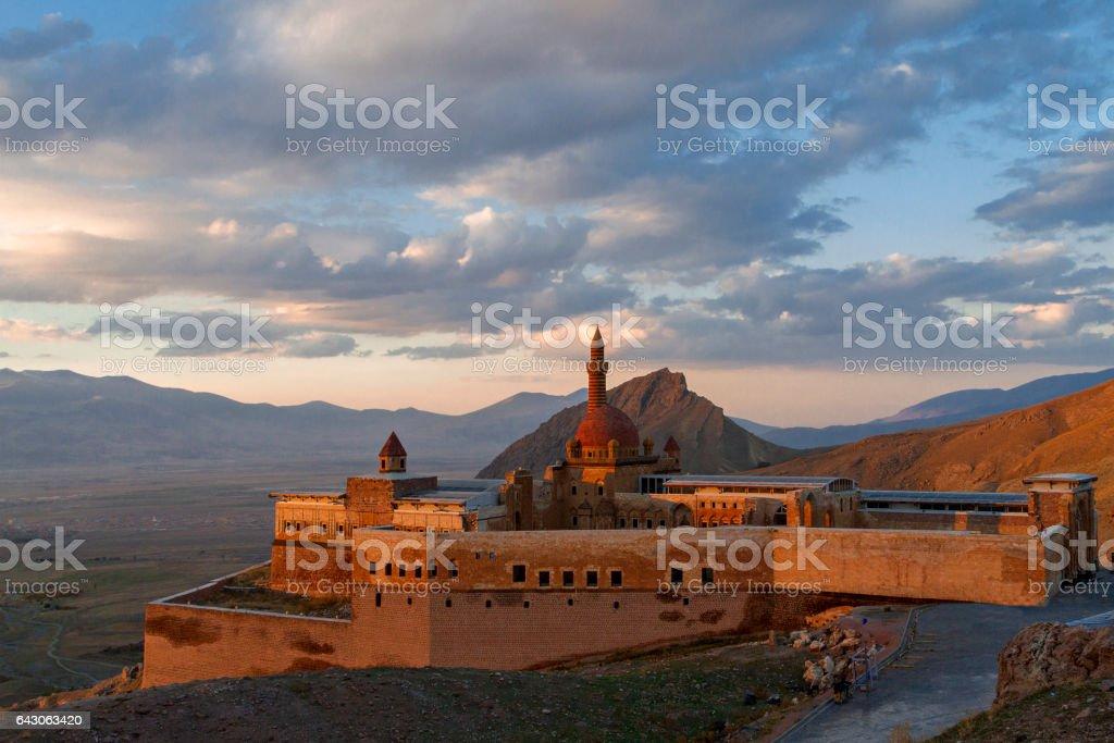 Ishak Pasha Palace at the sunset in Dogubayazit, Turkey stock photo