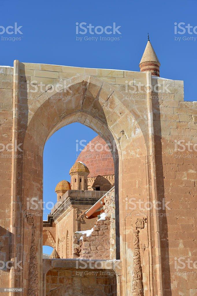 Ishak Pasha Palace details through window stock photo