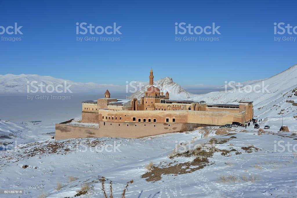 Ishak Pasha Palace in beautiful winter day stock photo
