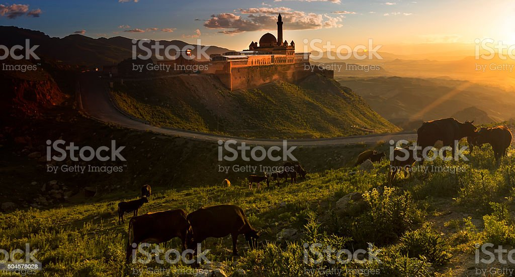 Ishak Pasha Palace stock photo
