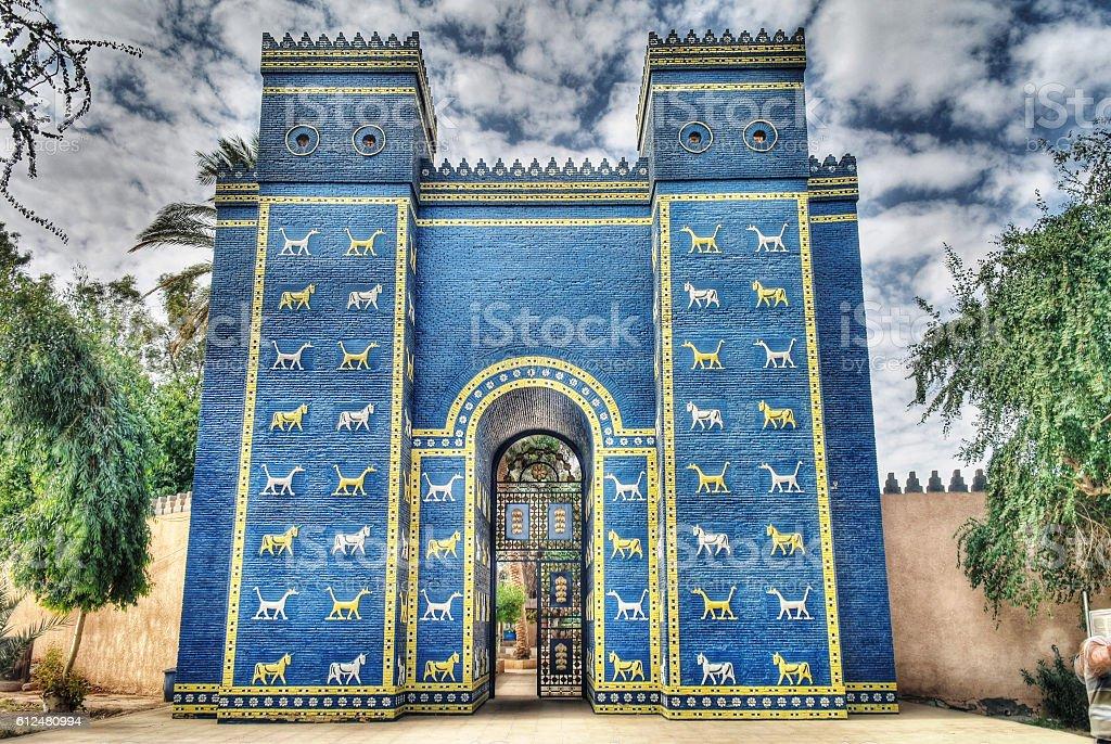 Ishtar gates in Babylon stock photo