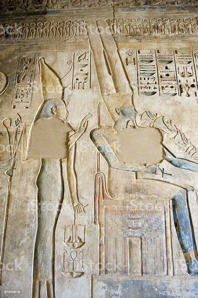 Isis and Amun Ancient Egyptian Hieroglyph royalty-free stock photo