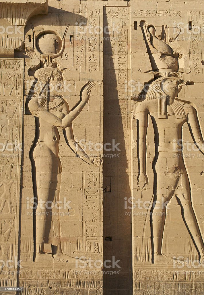 Isis and Horus stock photo