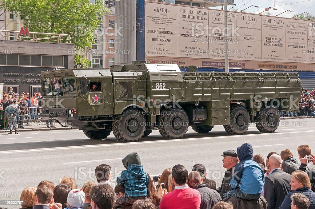 9K720 Iskander ballistic missile system on display during parade festivities stock photo
