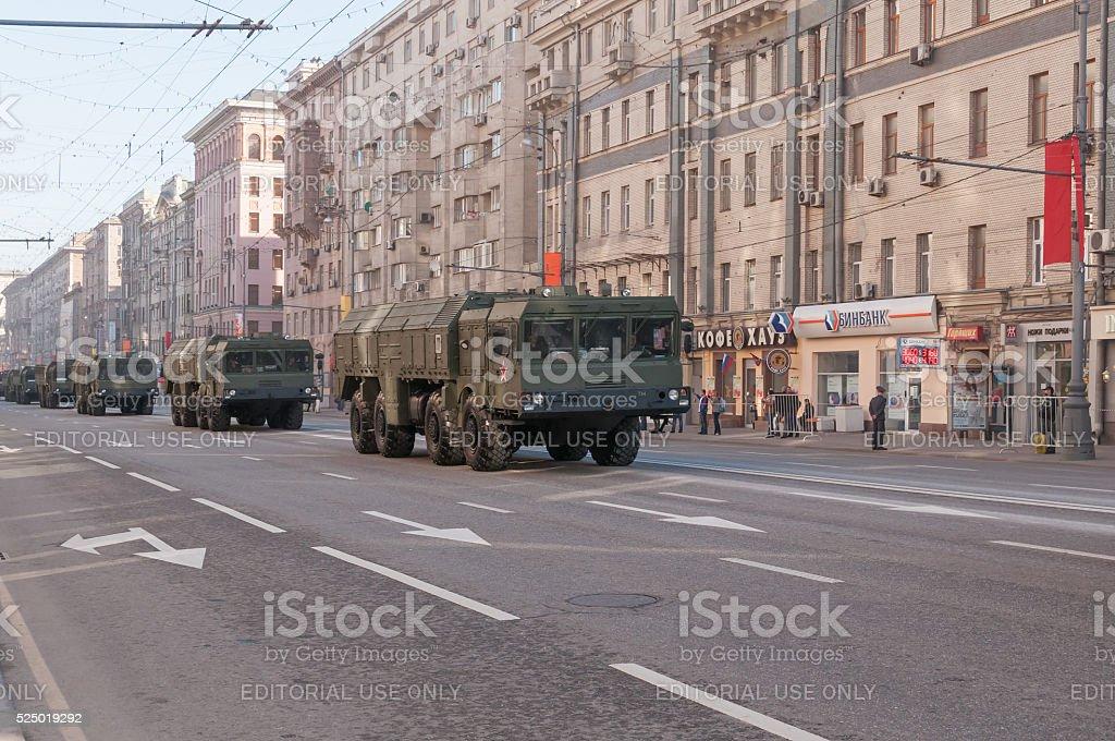 Iskander (SS-26 Stone) ballistic missile systems motorcade moves on parade stock photo
