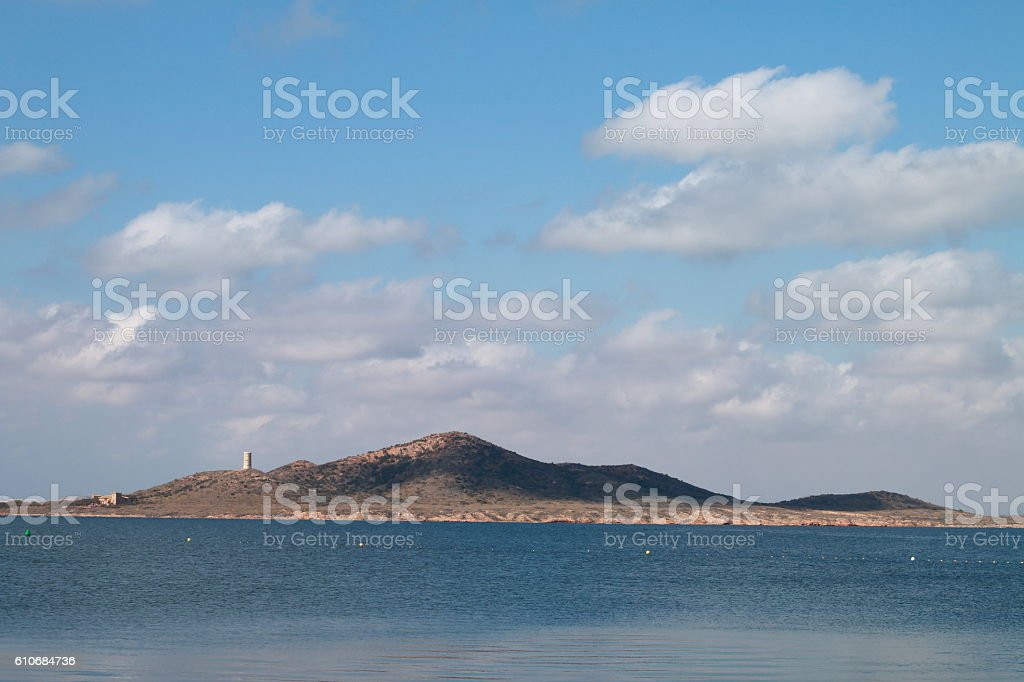 Isla Mayor or Del Baron, in the Mar Menor, Spain stock photo