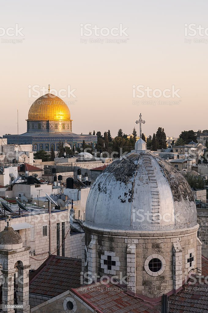 Islam and Christianity in Jerusalem Old City royalty-free stock photo