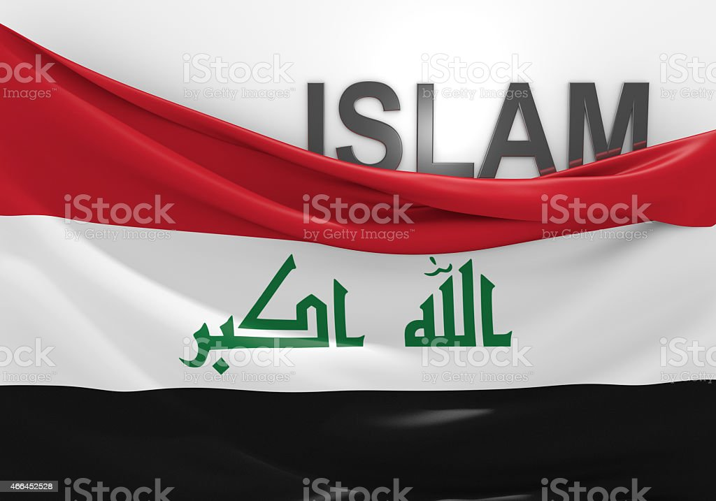 Islam in Iraq concept, with Iraqi flag and text stock photo