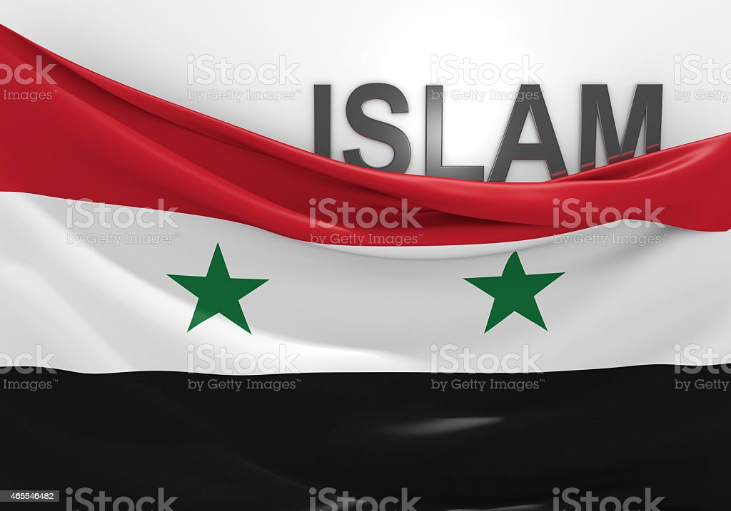 Islam in Syria concept, with Syrian flag and text stock photo