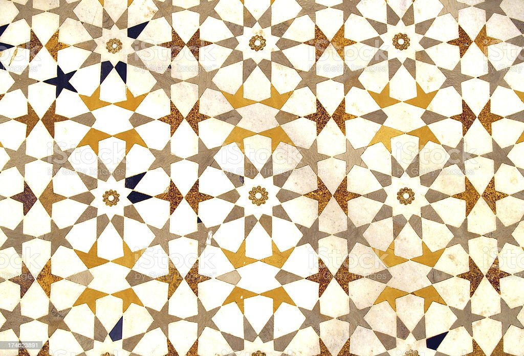 Islamic Art Style Wall Pattern, Agra, India stock photo
