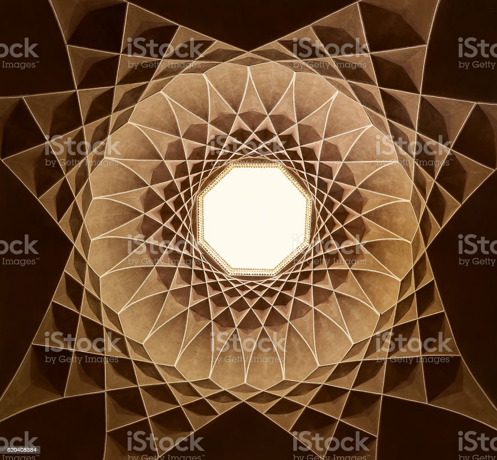 Islamic Design of Governor Pavilion in Dolat Abad of Yazd stock photo