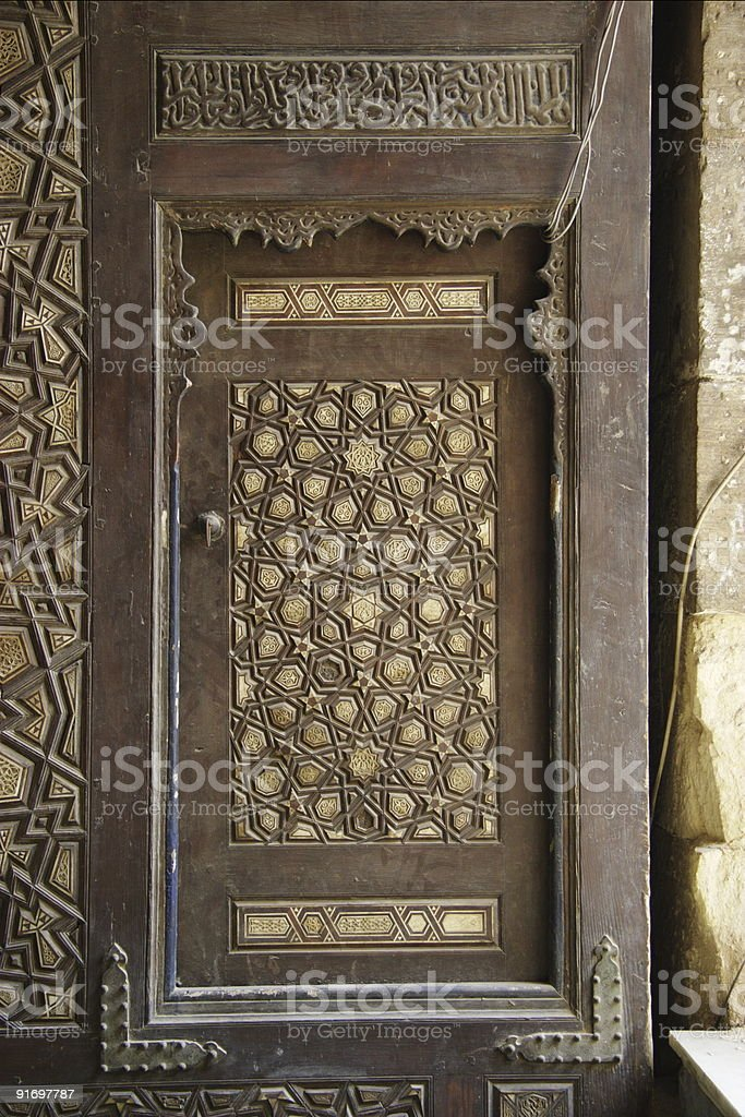 Islamic Door in Qaitbay mosque stock photo