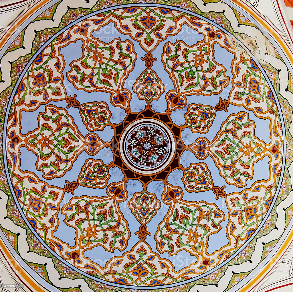 Islamic geometric pattern in Mosque stock photo