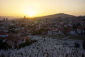 Islamic graves at sunny landscape