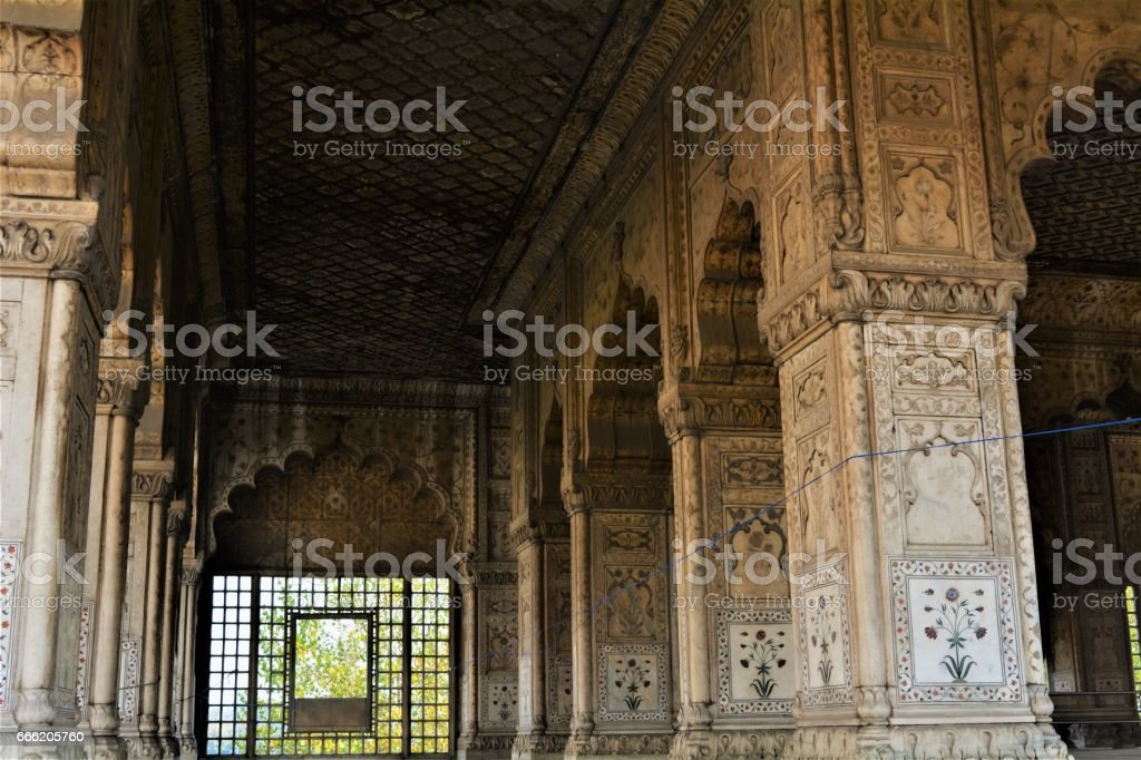 Islamic inscriptions on red fort stock photo