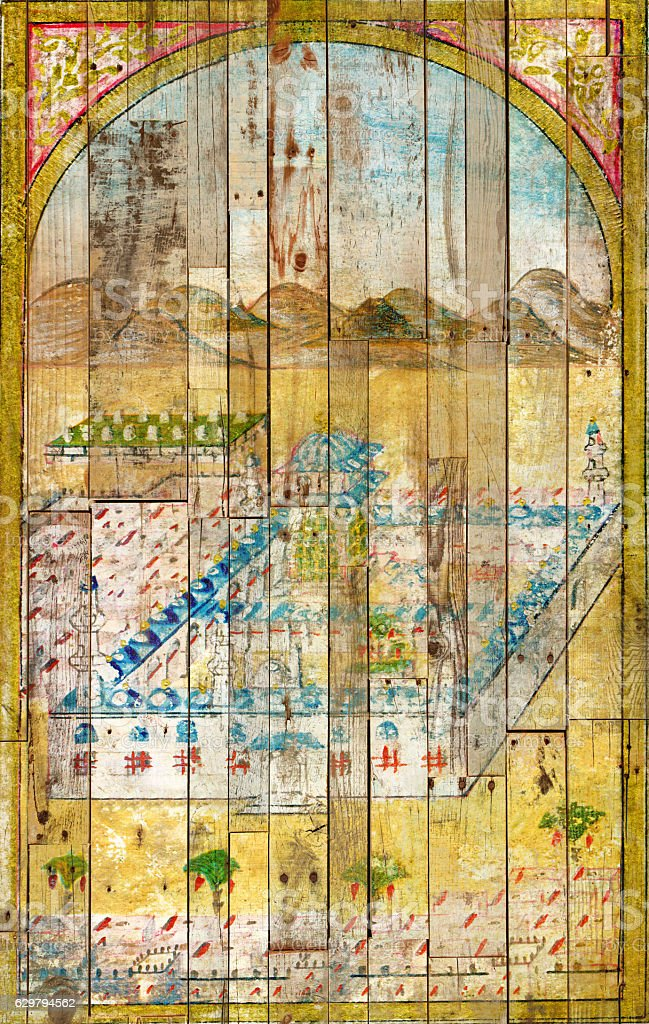Islamic miniature of kaaba, painted on a grunge door stock photo