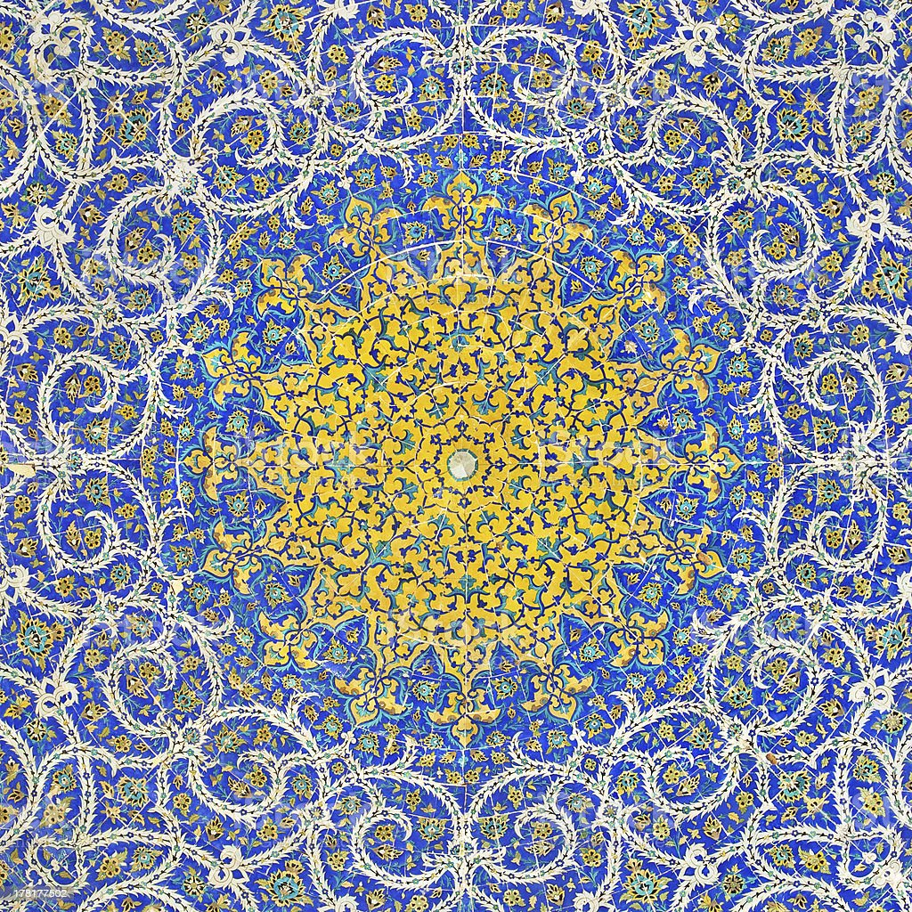 Islamic Persian Motif on Blue Tiles of a Mosque stock photo