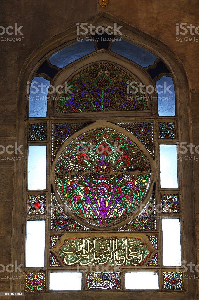 Islamic Stain Glass Window Calligraphy Yeni Cami Mosque Interior royalty-free stock photo