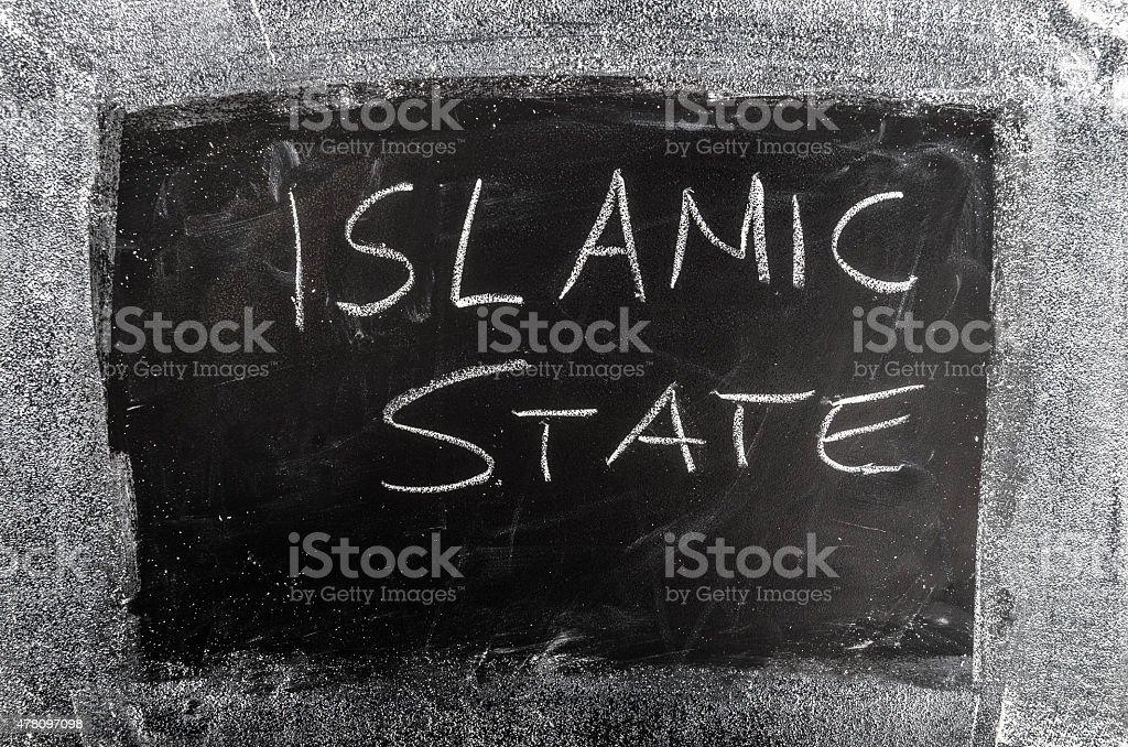 Islamic State Organisation on blackboard stock photo