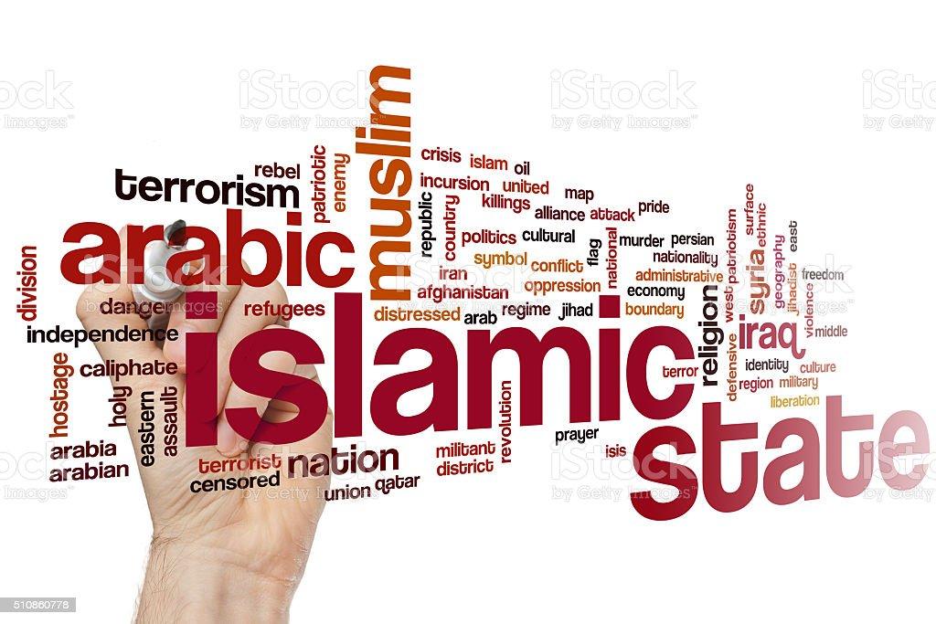 Islamic state  word cloud stock photo