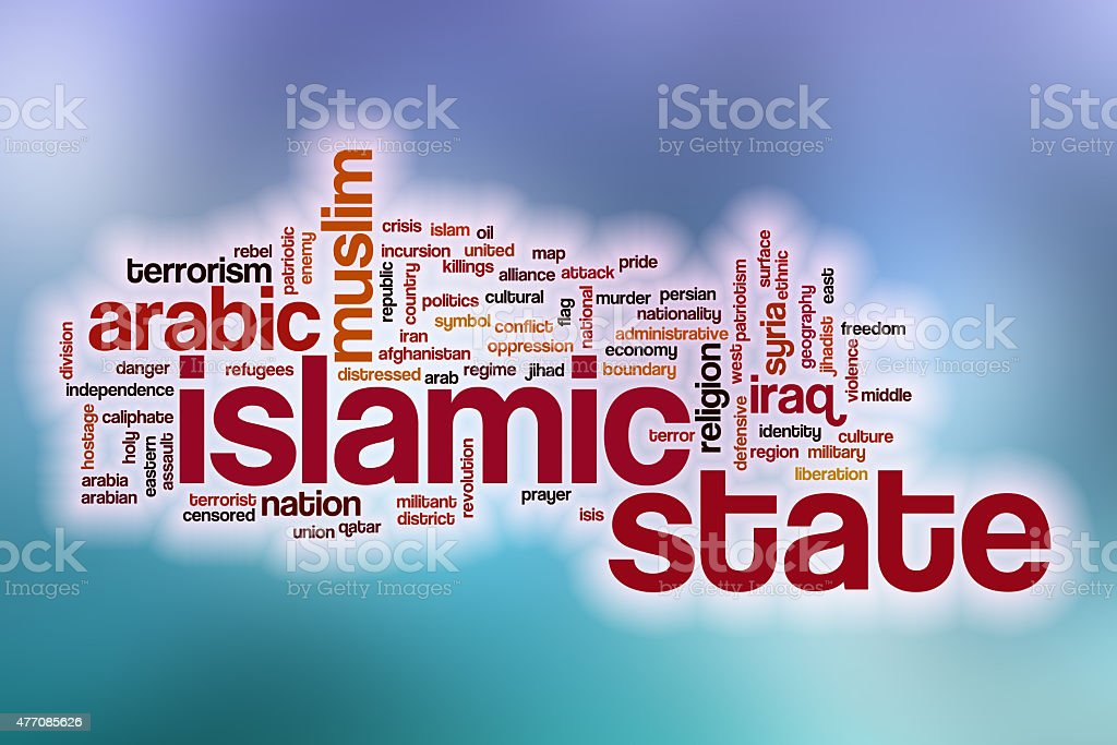 Islamic state word cloud with abstract background stock photo
