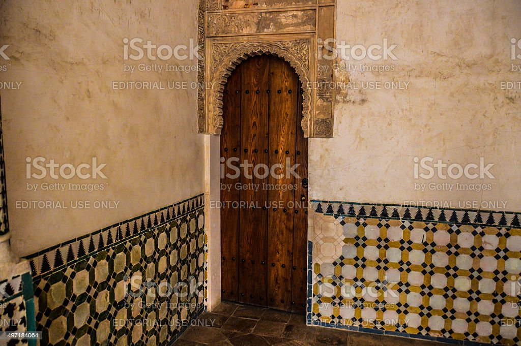 Islamic-style doorway in Granada, Spain stock photo