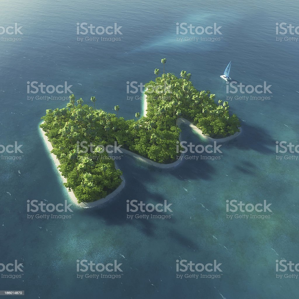 Island Alphabet in the form of letter M stock photo