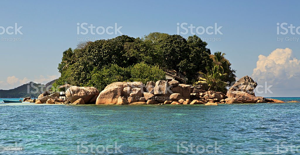 Island and hotel Chauve Souris Club in Indian Ocean stock photo