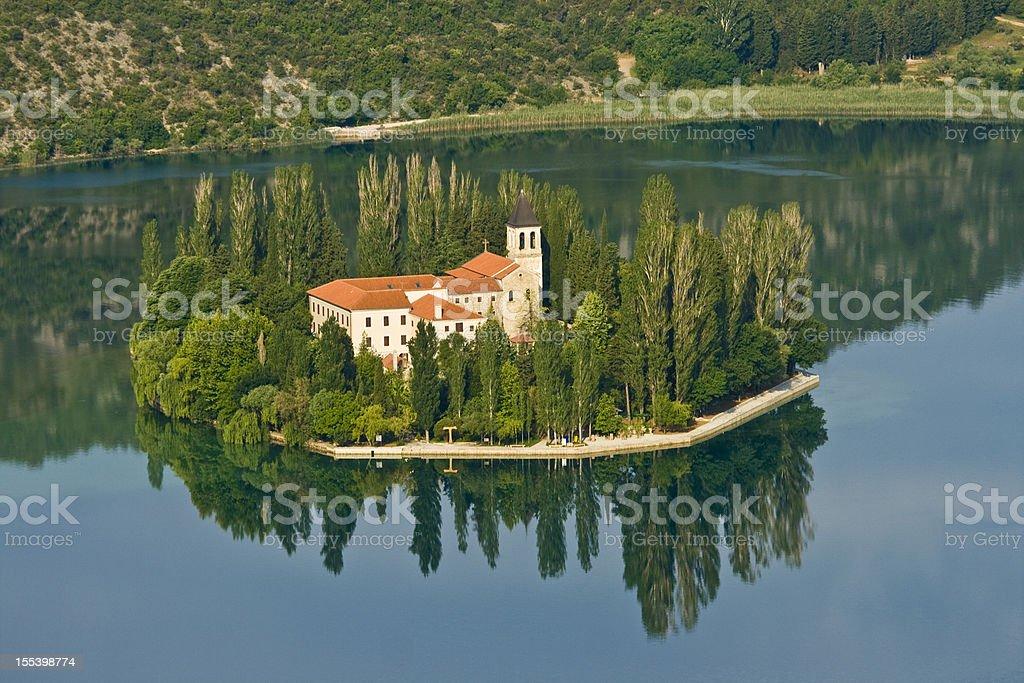 Island and monastery Visovac stock photo