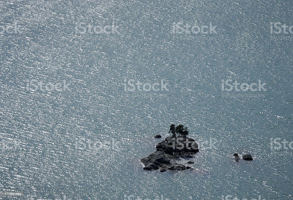 island at diablo lake stock photo