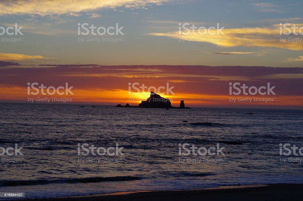 Island at sunset stock photo