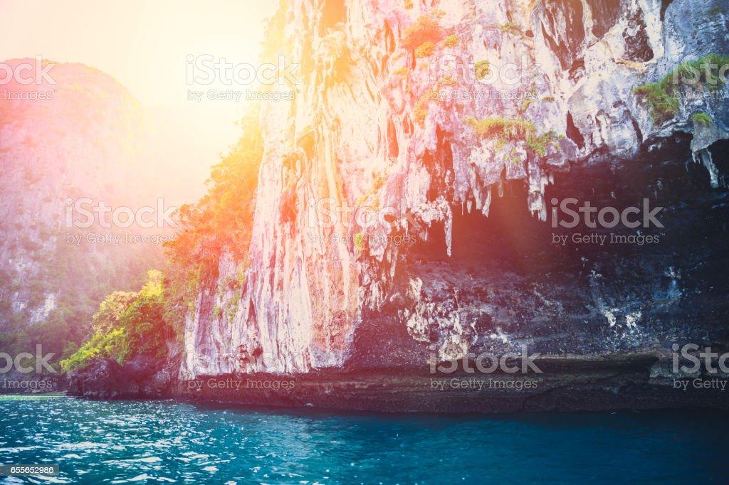 Island, beautiful ocean sea beach seascape Thailand Andaman Islands summer travel. stock photo
