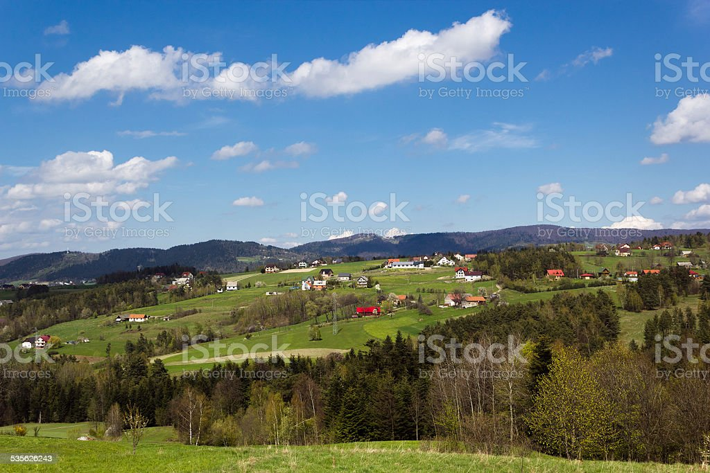 Island Beskids Mountains in Spring. Near Limanowa Town, Poland. stock photo