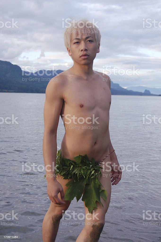 Island Boy at Sunset stock photo